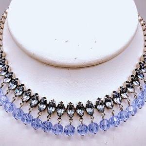 Vintage Wiesner Lavender RS & Crystals Necklace